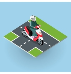 Touring moped motor bike on the road vector