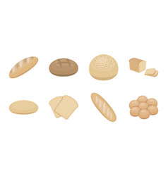 types of bread icons in set collection for design vector image