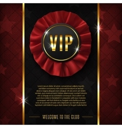 Vip background with realistic fabric award ribbon vector