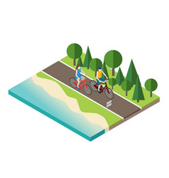Woman and man cycling on countryside summer sunny vector