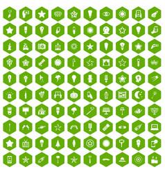 100 light icons hexagon green vector