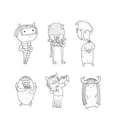 Set of cute monsters hand drawn in doodle style vector