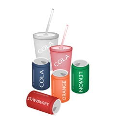 Set of refreshing soda drinks in various packaging vector