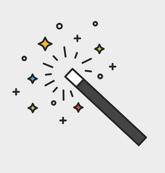 Magic wand and sparks black outline colorful icon vector