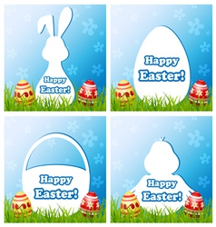 Easter card set with different silhouette text box vector