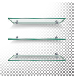 Empty glass shelves template set isolated vector