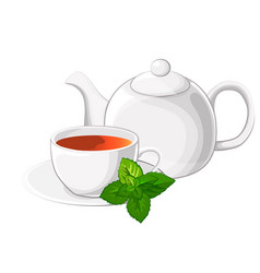 Cup of tea an teapot with mint vector