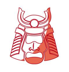 Japanese samurai mask warrior face shadow vector