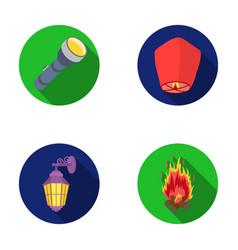 A flashlight an air lantern a lantern on the vector