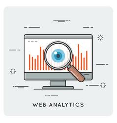 Web analytics thin line concept vector
