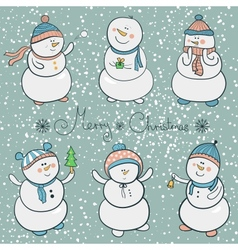 Cartoon snowmen set christmas vector