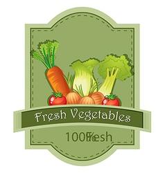 Fresh vegetables label vector image