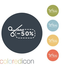 Discount coupon with scissors vector