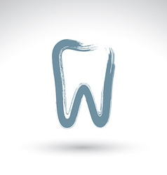 Hand drawn simple tooth icon real ink brush vector