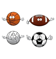 Cartooned sports balls characters with happy face vector