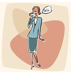 Businesswoman talking phone sell vector