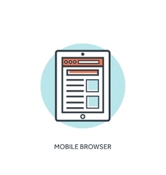 Flat lined mobile browser window tablet and vector