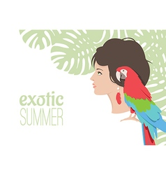 Girl with parrot under tropical tree vector