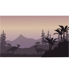 Parasaurolophus in hills scenery silhouette vector