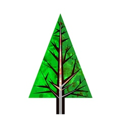 Abstract watercolor green pine tree vector