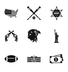 Attractions of usa icons set simple style vector