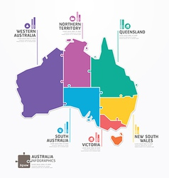 Australia map infographic template jigsaw concept vector