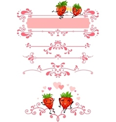 Cartoon strawberry and pink decorations vector
