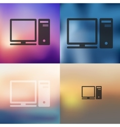 Computer icon on blurred background vector