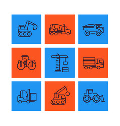 construction vehicles line icons set vector image