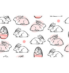 Cute white rabbit seamless pattern bunny easter vector