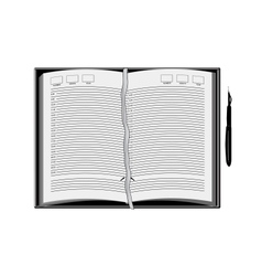 Diary with pen vector