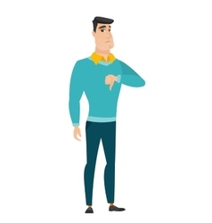Disappointed caucasian businessman with thumb down vector image vector image