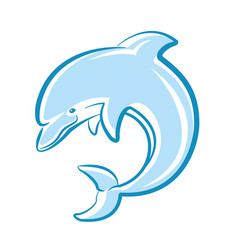 dolphin jumping in sea isolated on white vector image vector image