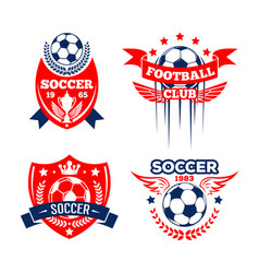 football sport club of soccer game badge set vector image vector image