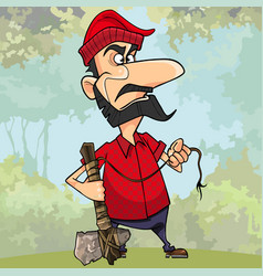 Frustrated cartoon lumberjack holding a stone axe vector