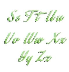 Glossy green alphabet with stripes on white vector image vector image