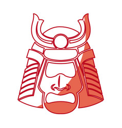 Japanese samurai mask warrior face shadow vector
