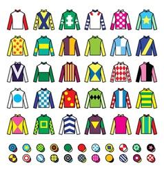 Jockey uniform - jackets silks and hats vector