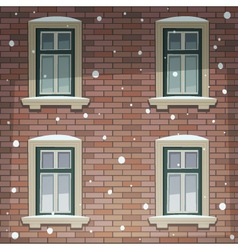 Retro Building Facade At Winter Time vector image vector image
