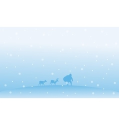 Santa with gift bag christmas winter landscape vector
