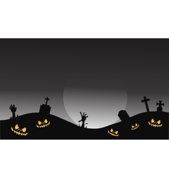 Scary halloween tomb and hand zombie vector image vector image