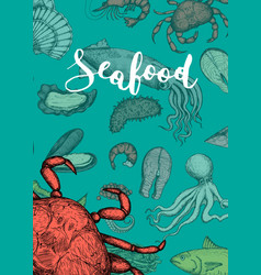 Seafood vintage hand drawn banner vector