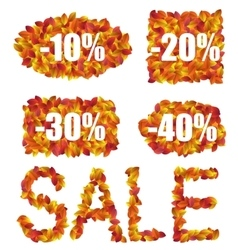 Set Autumn Sale Discounts made in Colorful Leaves vector image