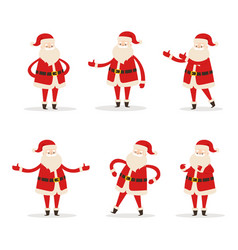 Set of santa clauses in different pose icon vector