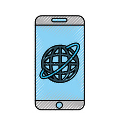 Smartphone device with planet vector