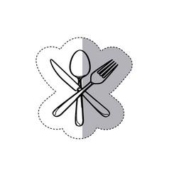 sticker figure cutlery icon vector image vector image