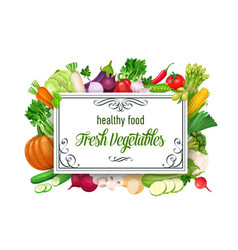 template with vegetables vector image