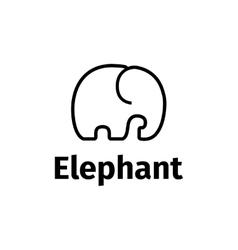 Trendy line style minimalistic elephant vector