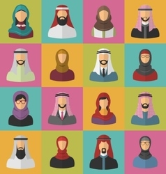 Set arabic men and women vector