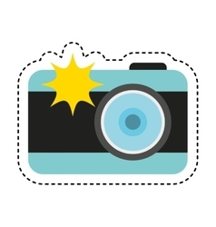 photographic camera with flash icon vector image